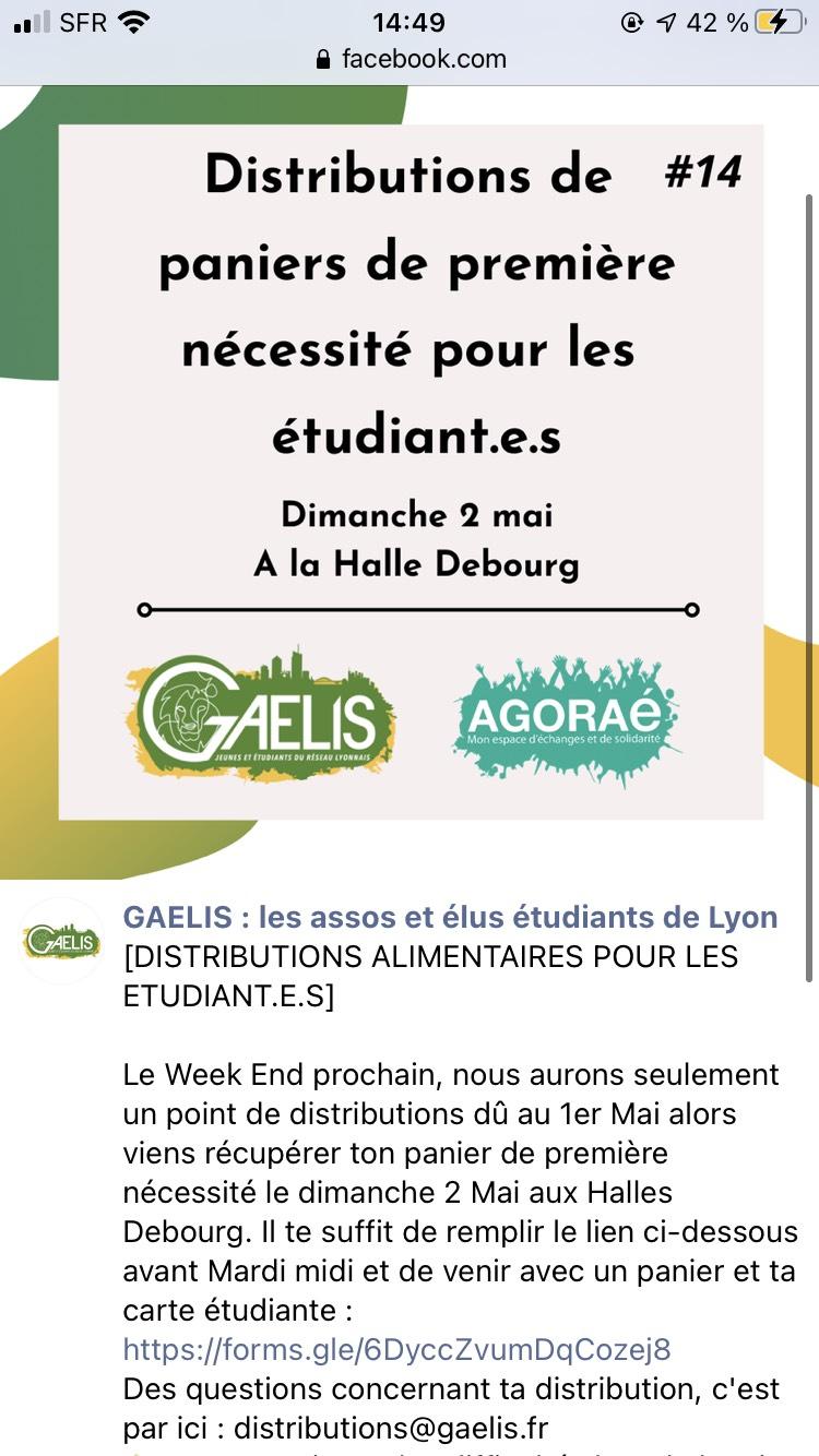 [Étudiants] Distributions de paniers de première nécessité - Halles Debourg Lyon (69)