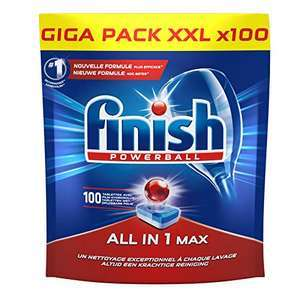 Pack de 100 Tablettes lave-vaisselle Finish Pastilles Powerball All in One Max