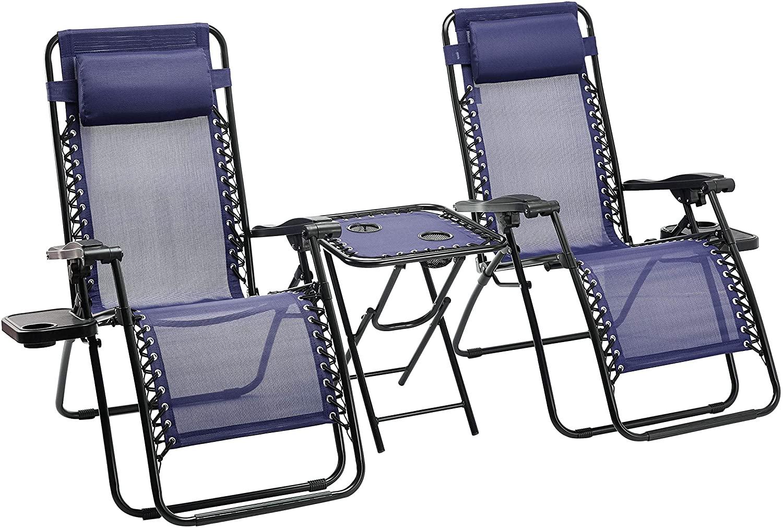 Lot de 2 fauteuils relax pliant avec une table d'appoint Amazon Basics - Bleu