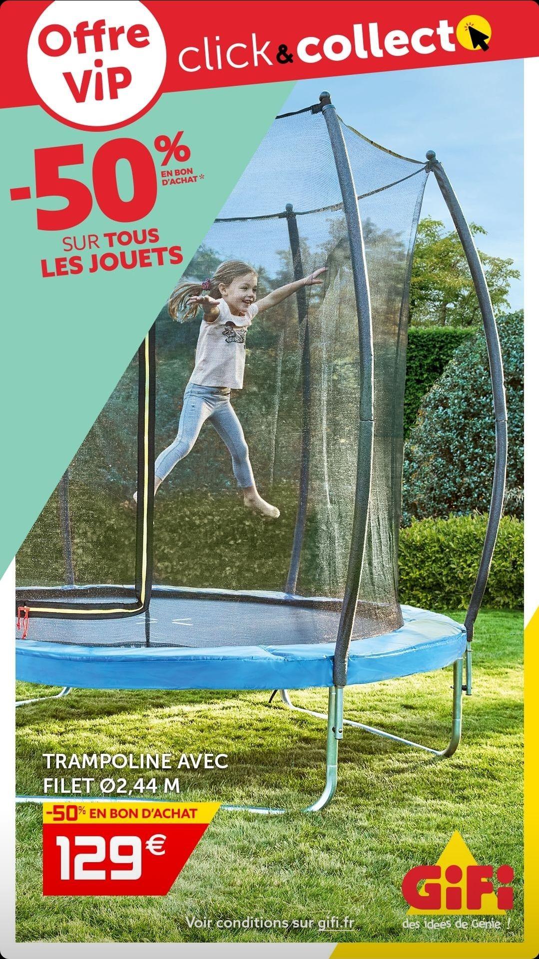 [VIP] Trampoline avec filet de protection - Ø244 x H.235 cm + 64.50€ offerts en bon d'achat