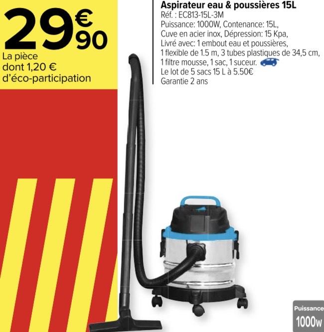 Aspirateur eau et poussière - 15L