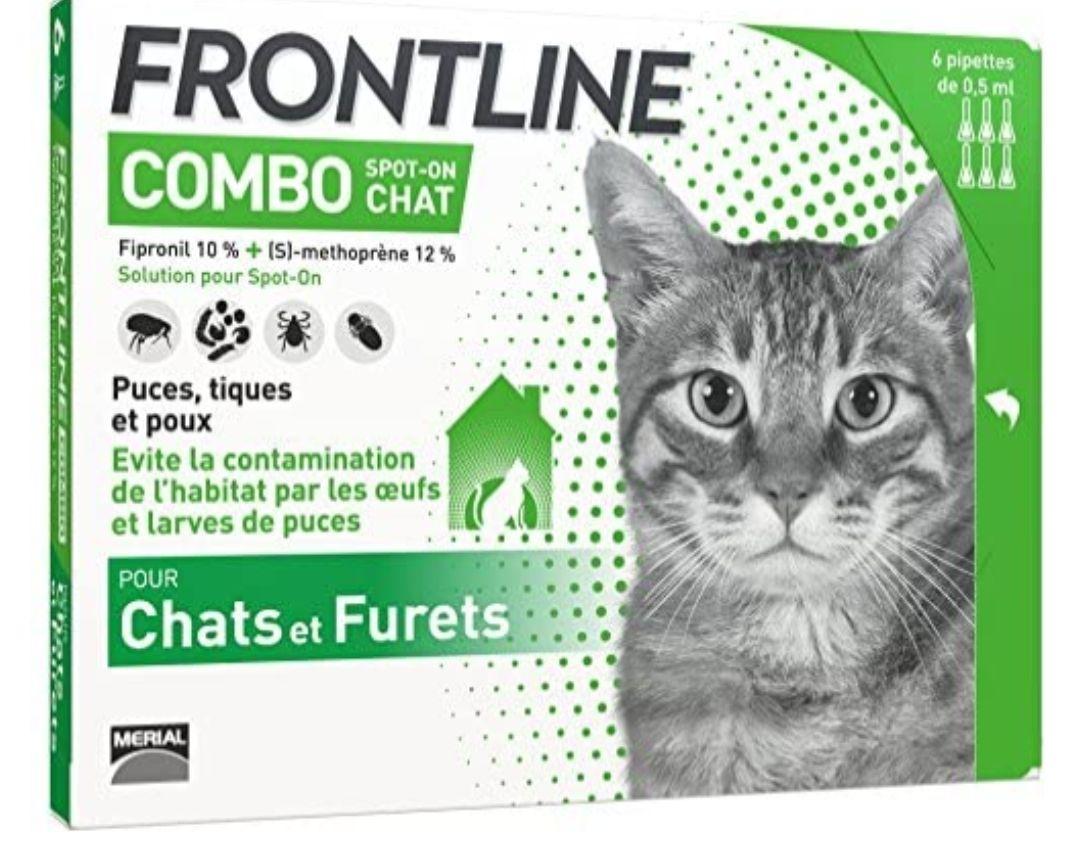 Paquet de 6 pipettes de protection anti-puces / anti-tiques pour chat Frontline Combo