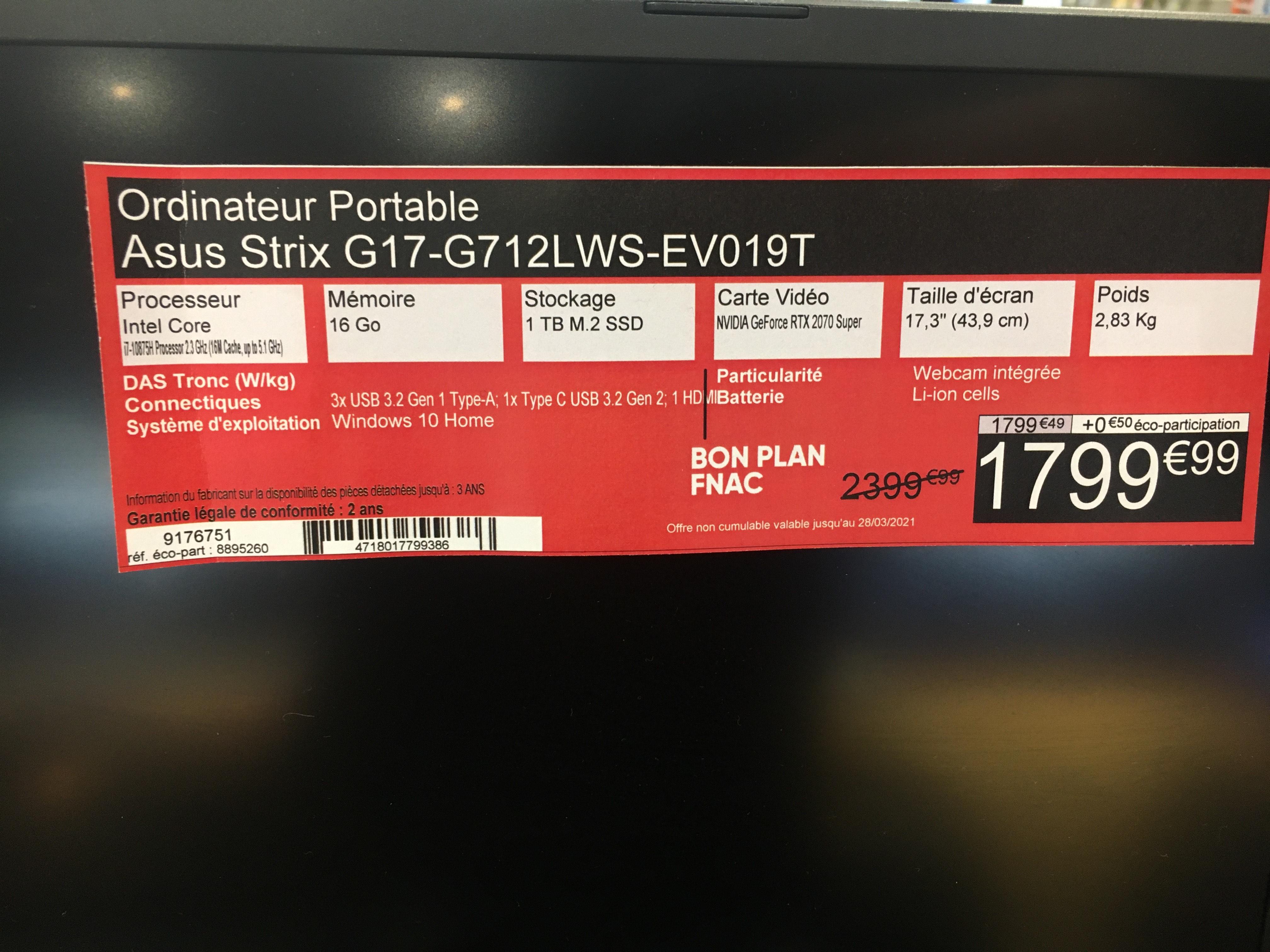 "PC Portable 17.3"" Asus ROG Strix G17 G712LWS-EV019T - Full HD 144 Hz, i7-10875H, 16 Go RAM, 1 To SSD, RTX 2070 Super (8 Go), W10 - Lyon (69)"