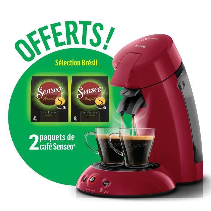 Machine à café Philips Senseo HD6554/91 Rouge + 2 paquets de café offerts