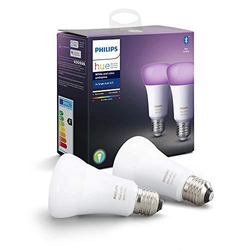 Lot de 2 ampoules connectées LED E27 Philips Hue White and Color Ambiance Single Bulb
