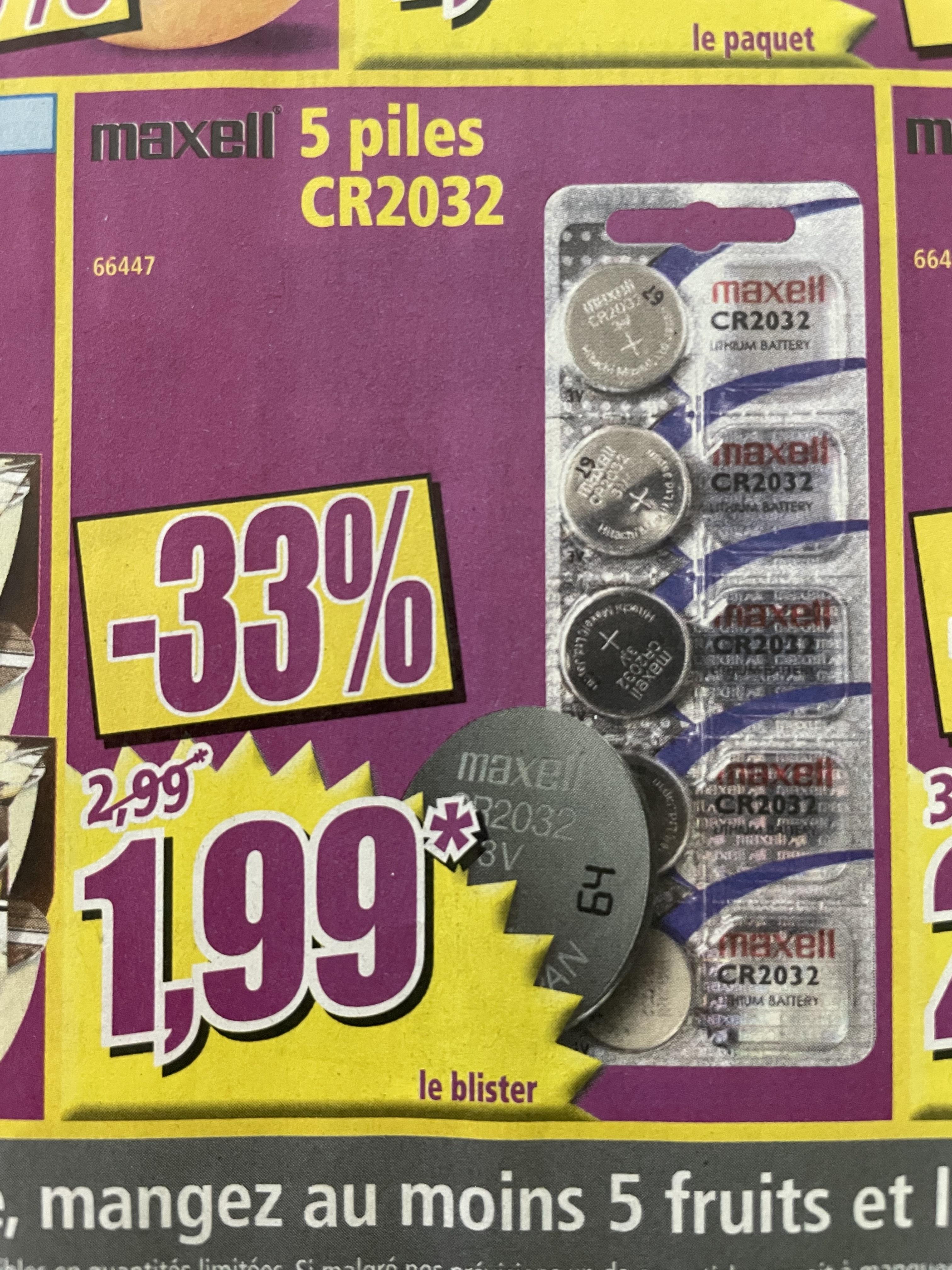Lot de 5 piles CR2032 Maxell