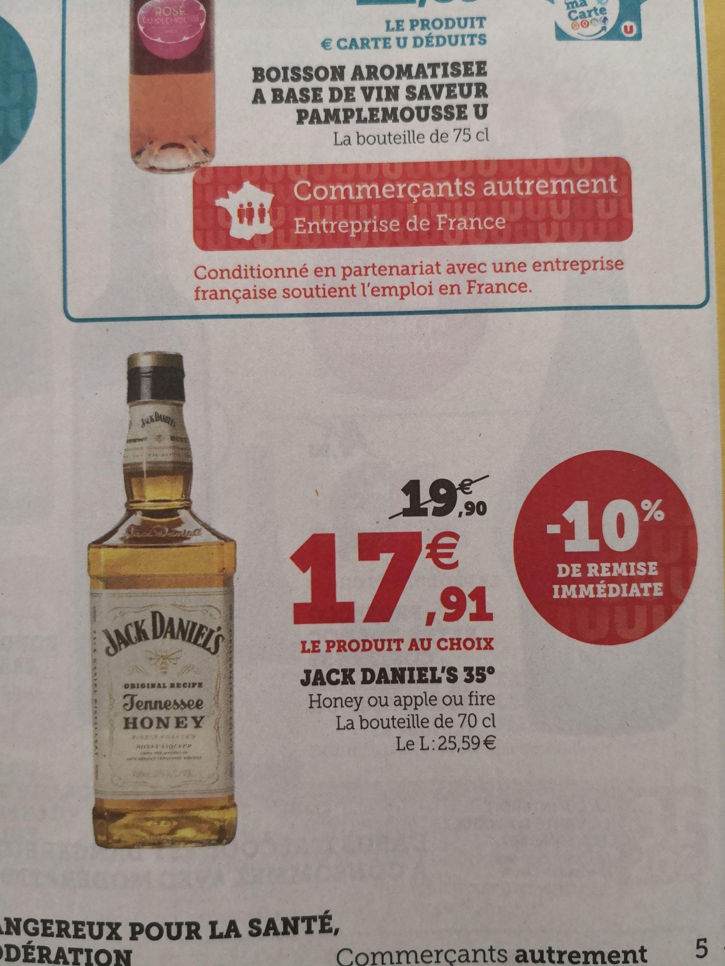 Bouteille de whisky Jack Daniel's Apple, Fire ou Honey - 70 cl