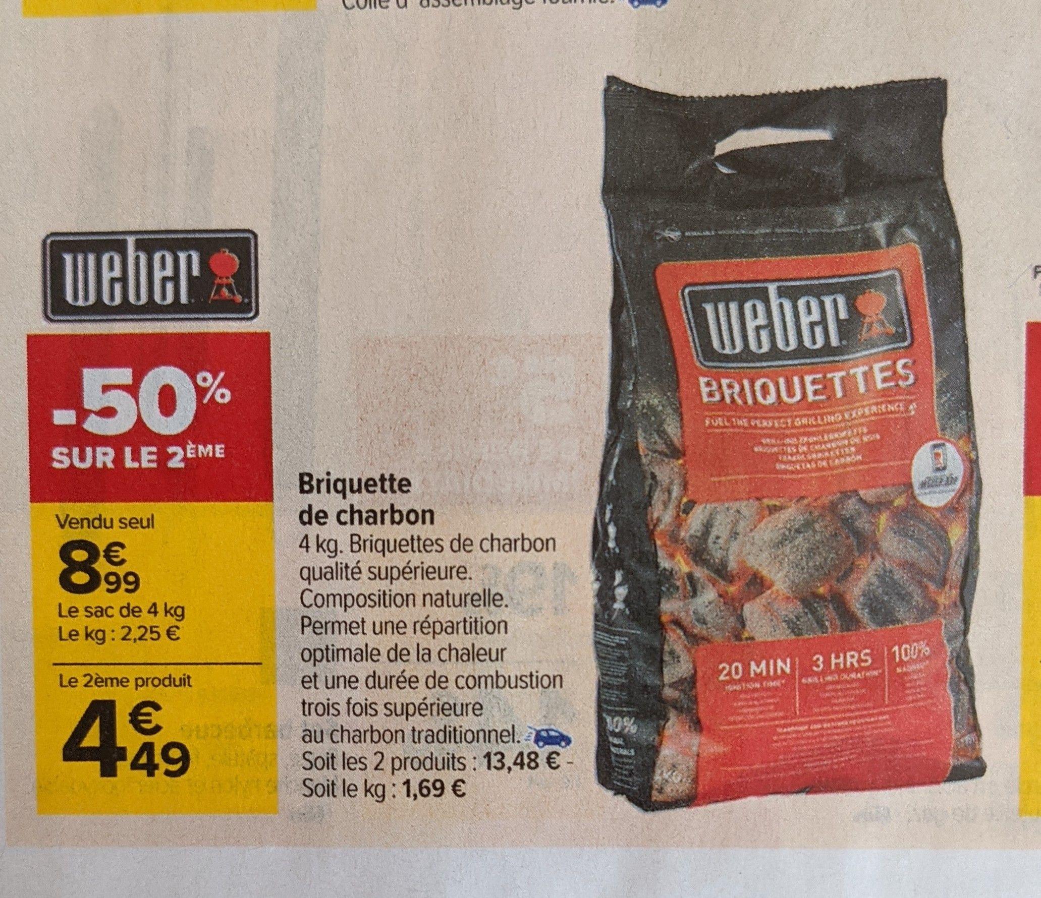 2 Sacs de briquettes de 4 kg de charbon de bois Weber