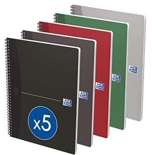 Lot de 5 Cahiers Oxford Office Essentials - A4, petits carreaux, 180 Pages, reliure spirale