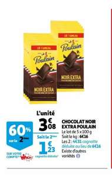 Lot de 2 packs de 5 tablettes de Chocolat noir Extra Poulain (Via 1.85e sur la carte fidélité) - 10 x 100g
