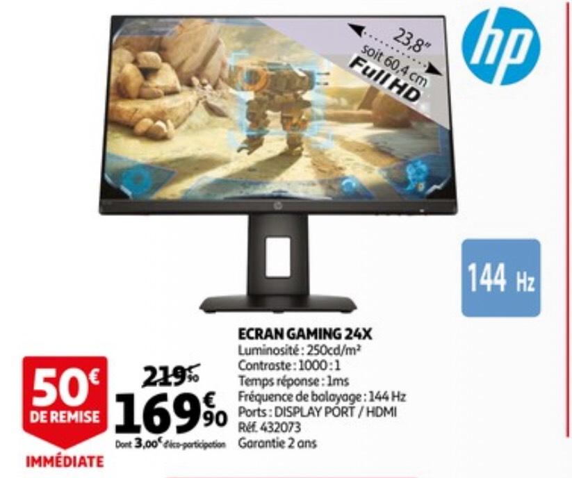 """Ecran PC 23.8"""" HP 24x - full HD, LED TN, 144 Hz, 1 ms"""