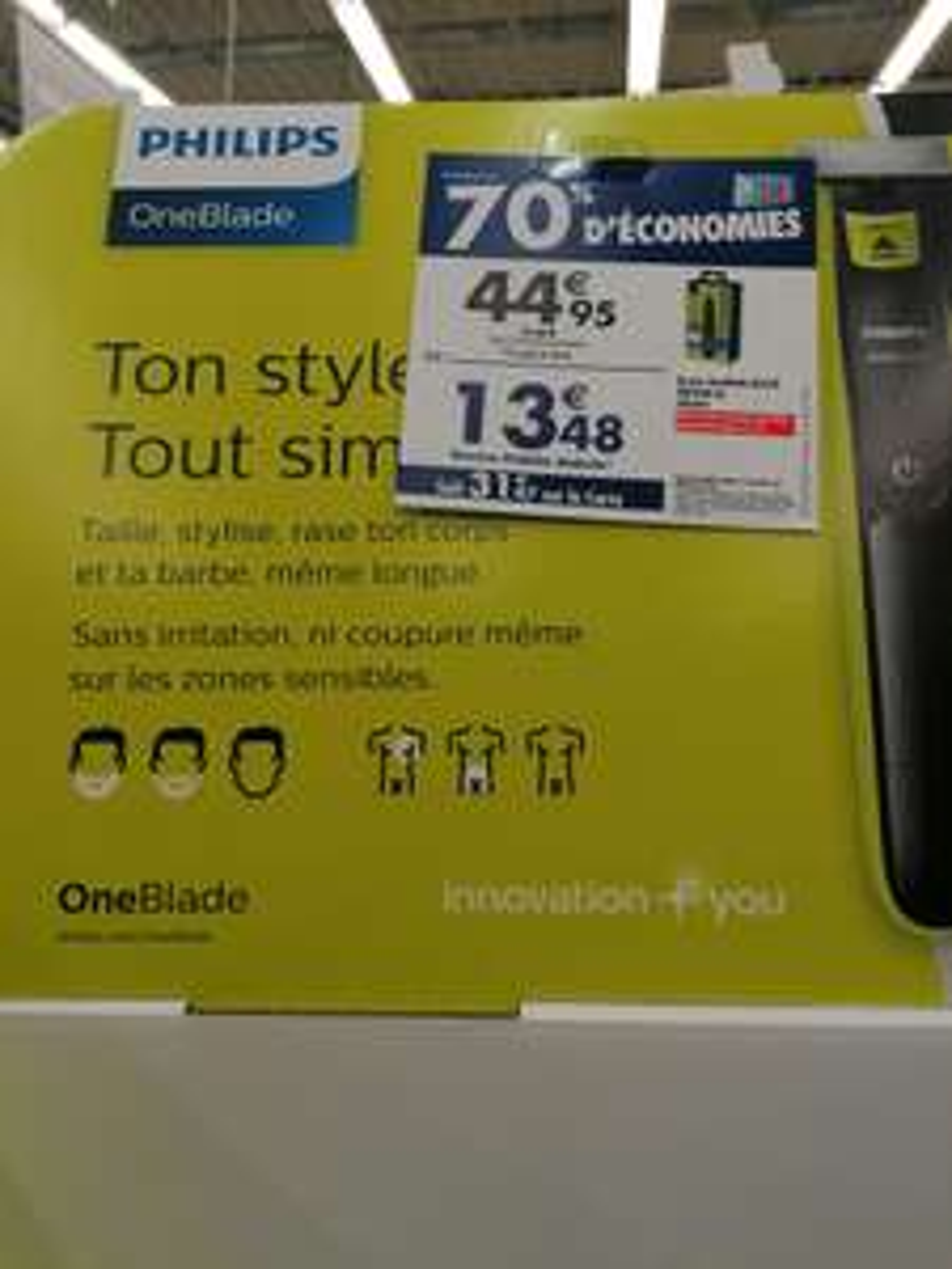Tondeuse à barbe Philips OneBlade Black Edition QP2514/20 - avec 1 lame + 4 sabots (via 31.47€ sur la carte de fidélité) - Sévrier (74)