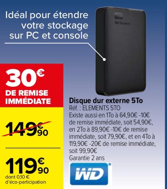 "Disque dur externe 2.5"" Western Digital WD Elements Portable (WDBU6Y0050BBK) - 5 To"