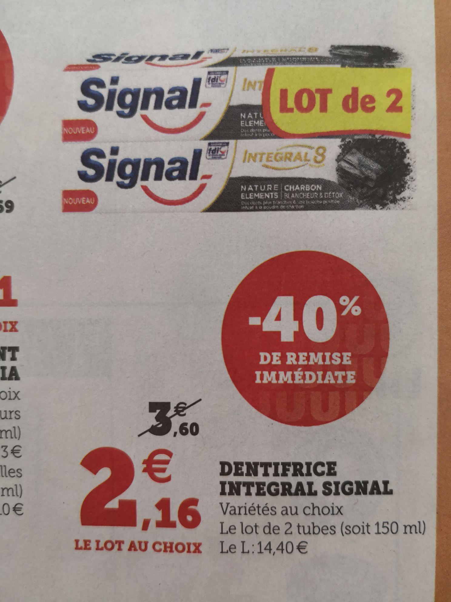 Lot de 2 tubes de dentifrice Signal Integral 8