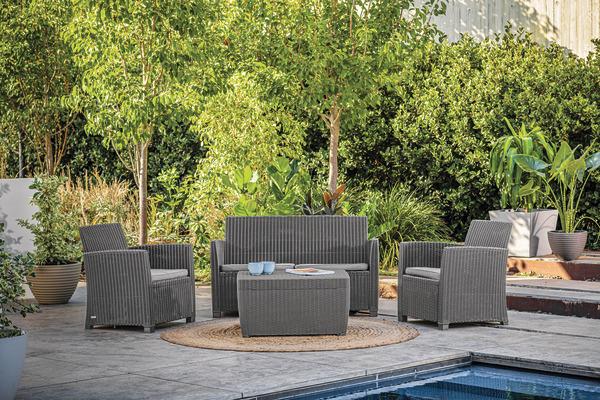 Salon de jardin résine 4 pièces Angel Sparkle - 1 canapé 2 places + 2 fauteuils + 1 table