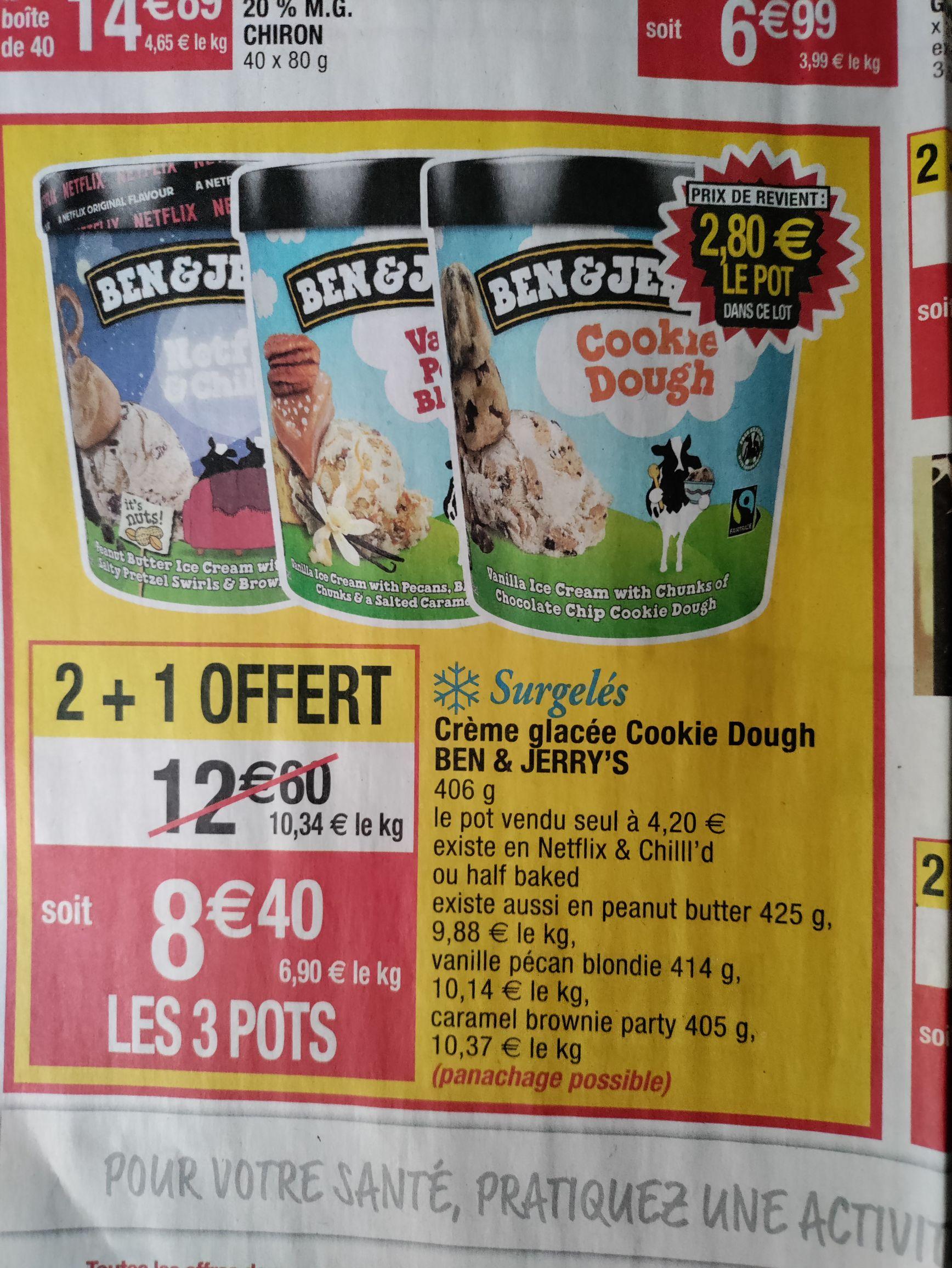 Lot de 3 pots de Crème glacée Ben & Jerry's (variétés au choix)
