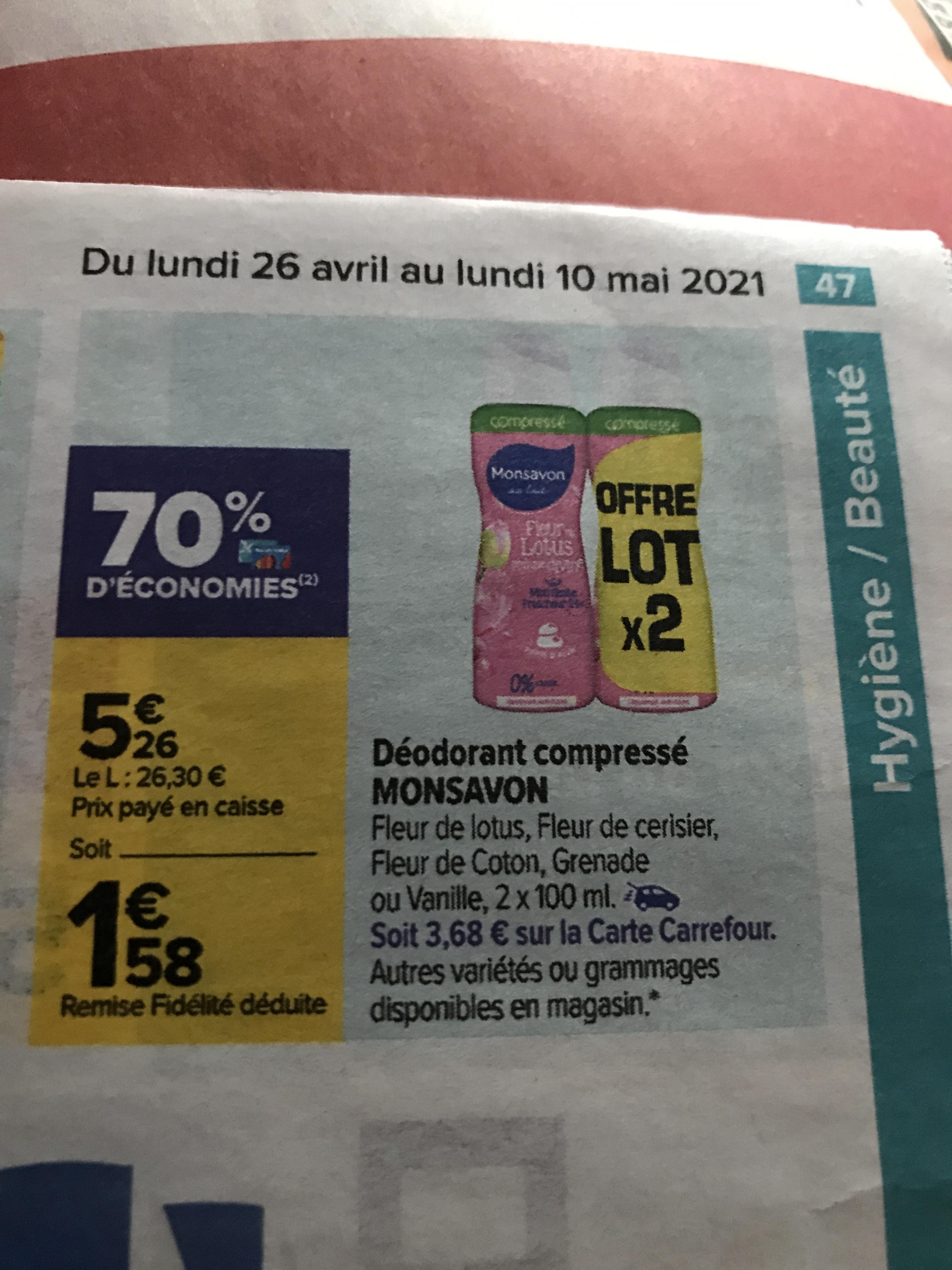 Sélection de produits en promotion - Ex : lot de 2 déodorants compressé Monsavon (via 3.68€ sur la carte de fidélité)