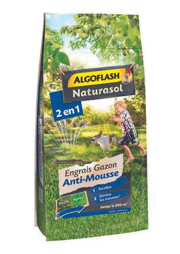 Engrais gazon anti mousse Algoflash - 8 kg, jusqu'à 200 m²