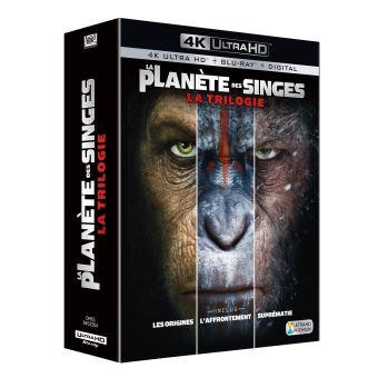 Coffret Blu-Ray 4K Trilogie La Planète des Singes : Les Origines, L'Affrontement, Suprématie (vendeur tiers)