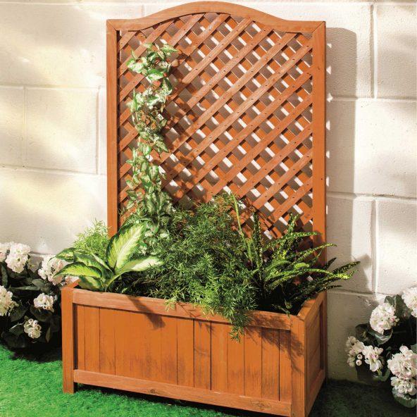 Jardinière en bois avec treillage Gardenline - 60 x 28,5 x 100 cm