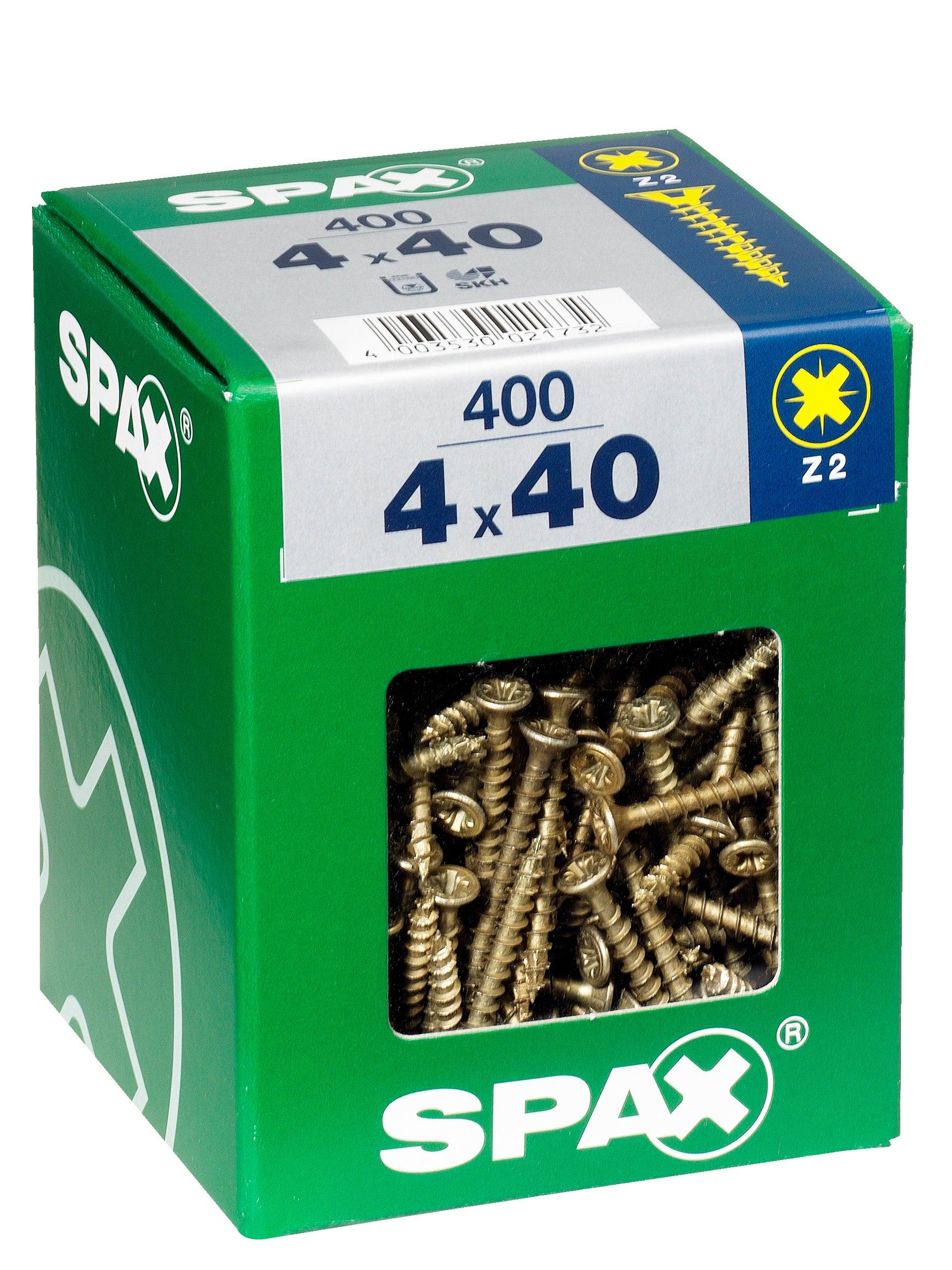 Lot de 400 vis acier tête fraisée Spax Pozidriv, Diam.4 mm x L.40 mm