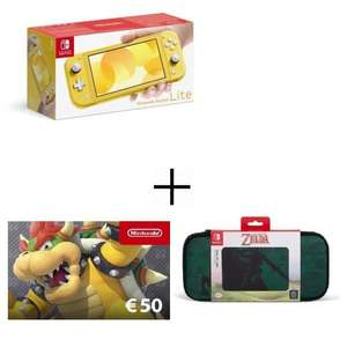 Pack Console Nintendo Switch Lite (Plusieurs Coloris) + Carte Cadeau Nintendo 50€ + Housse Steelplay