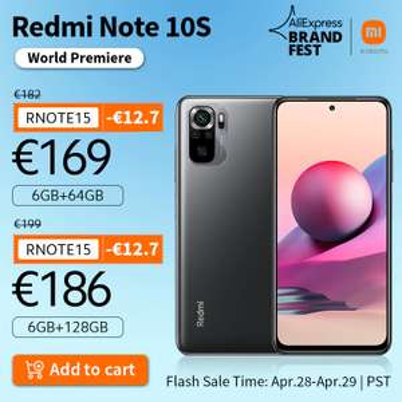 "Smartphone 6.43"" Xiaomi Redmi Note 10S - AMOLED Full HD+, MTK Helio G95, RAM 6 Go, 64 Go, NFC (162.84€ avec le code HAPPYFR16)"