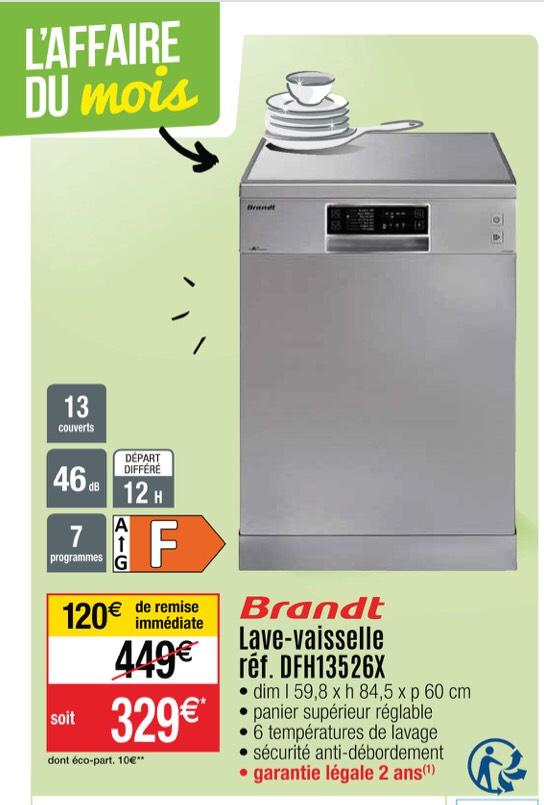 Lave-vaisselle Brandt DFH13526X - 13 couverts