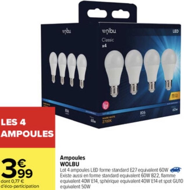 Lot de 4 ampoules LED Wolbu - B22, E14, E27 ou GU10