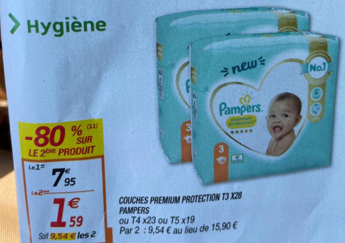 2 Paquets de Couches Pampers Premium Protection - 2x 28 Pièces (Plusieurs tailles)