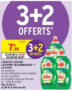Lot de 5 lessives liquides Le Chat - Plusieurs variétés (5 x 2 L)