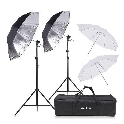 Kit de studio photo Andoer : 2 Trépied 75-200cm + 4 Parapluies 83cm (2 Blanc + 2 Noir/Argent) + 2 Supports type B + Sac (Entrepôt Allemagne)