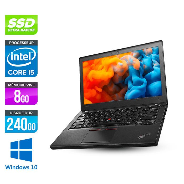 "PC Portable 12.5"" Lenovo ThinkPad X270 - HD - i5-6200U, 8 Go RAM, SSD NVMe 240 Go, Windows 10 (Reconditionné)"