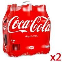 2 packs de Coca Cola Classique - 6 x 1,5L (via 7.80€ sur la carte + BDR)
