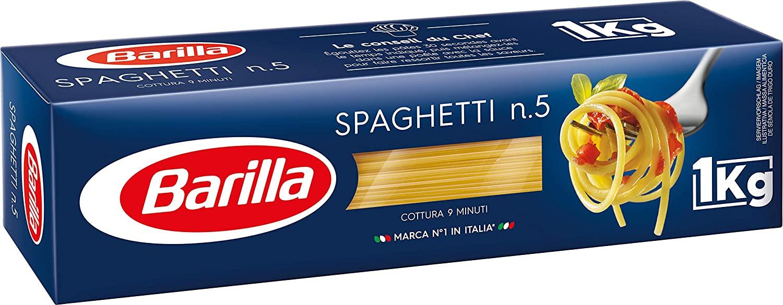 Lot de 2 boîtes de pâtes Barilla Capellini, Coquillettes, Penne Rigate ou Spaghetti (2x1kg)