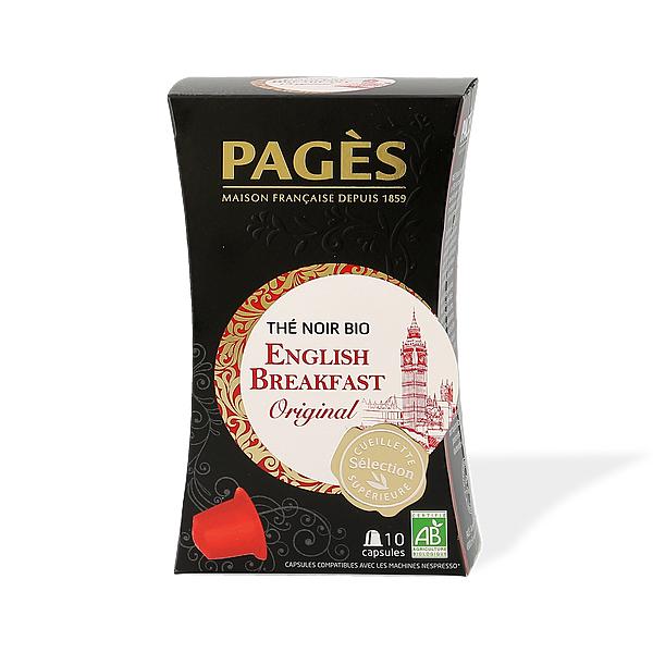 Thé Bio Pagès Noir English Breakfast et Earl Grey en capsules (10) compatibles Nespresso (pages.fr)