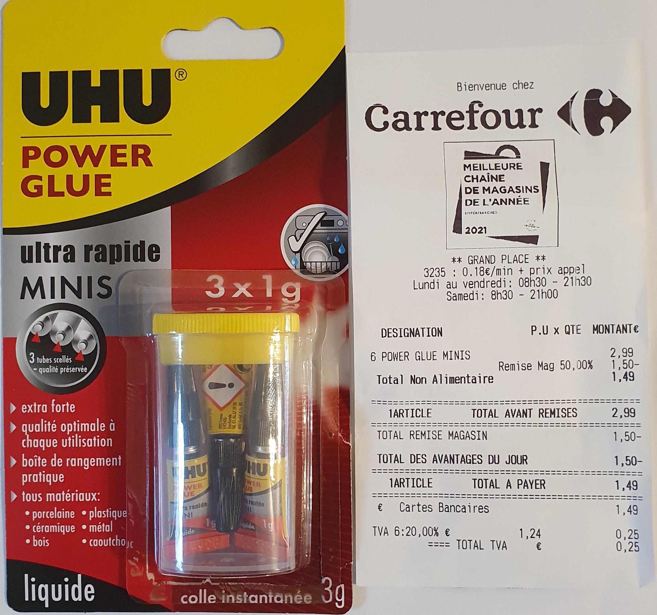 3 tubes de power glue mini UHU (3x1g) - Echirolles (38)
