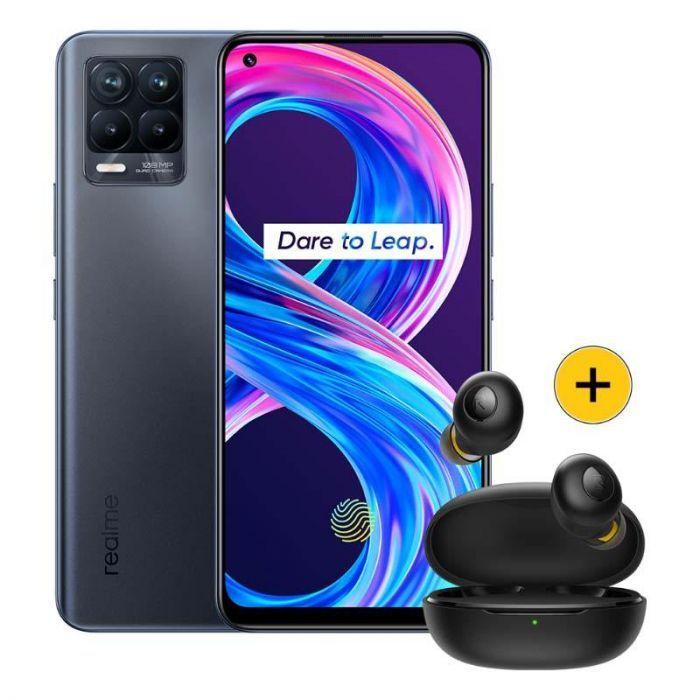 """Pack Smartphone 6.4"""" Realme 8 Pro (128 Go) + Écouteurs sans-fil Bluetooth Realme Buds Q"""