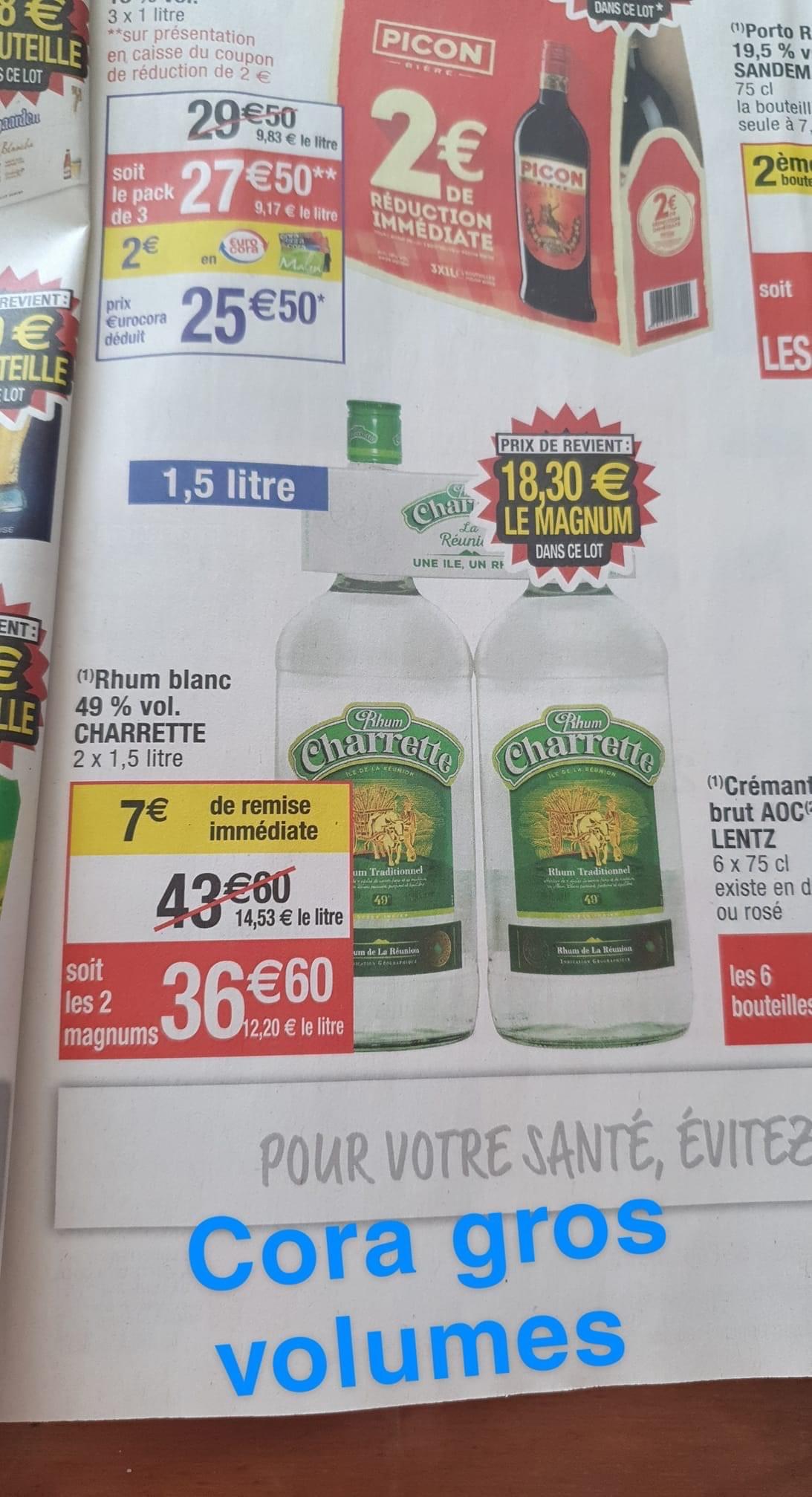 2 Bouteilles de Rhum blanc de la Réunion Charrette 49%.vol - 2 x 1.5 litre