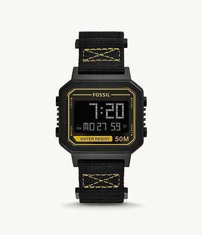 Montre Slater numérique en nylon - Noir et jaune