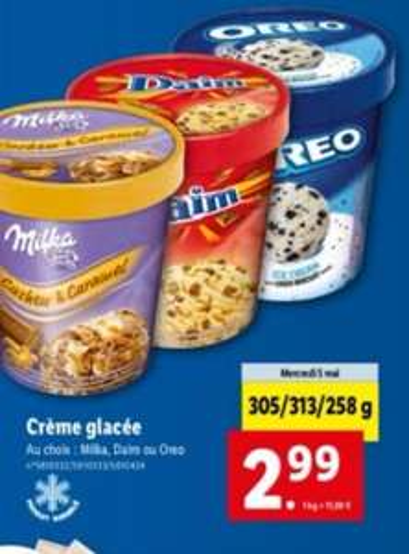 Pot de crème glacée Oréo, Daim ou Milka