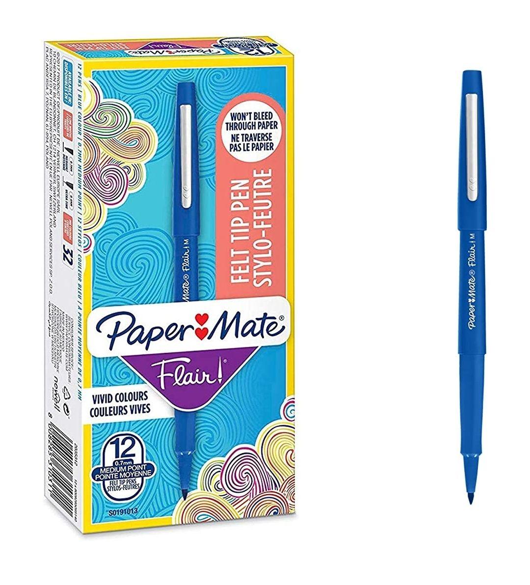 Boîte de 12 stylos feutres Paper Mate Flair -pointe moyenne 1,1mm, encre bleue