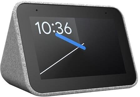 """Radio-réveil connecté 4"""" Lenovo Smart Clock - avec Google Assistant, gris ou noir"""