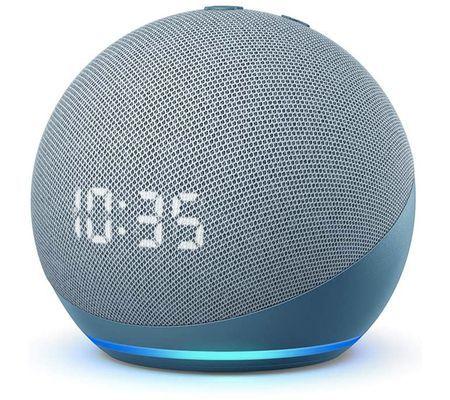 Assistant vocal / Enceinte connectée Amazon Echo Dot 4 avec horloge (Blanc ou Bleu-gris)