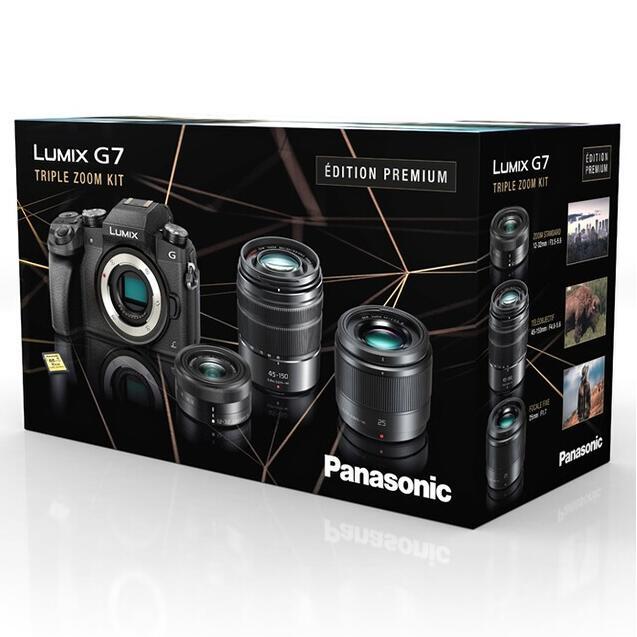 Appareil photo hybride Panasonic Lumix DMC-G7 + 3 Objectifs (12-32mm f/3.5-5.6 + 45-150mm f/4-5.6 + 25mm f/1,7) + SD (+ 60€ en carte cadeau)