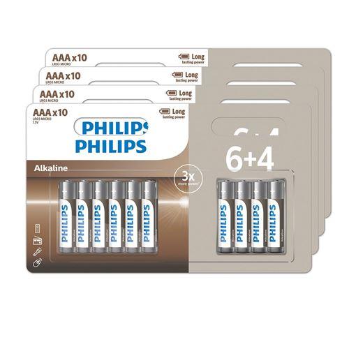 Lot de 40 piles alcalines Philips AAA ou AA