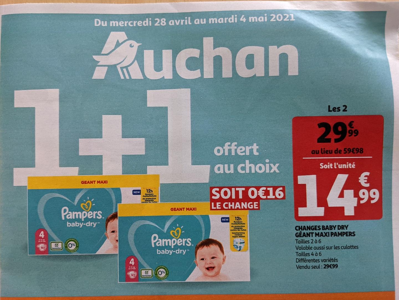 Lot de 2 paquets Changes Pampers Baby Dry Géant Maxi (Plusieurs tailles)