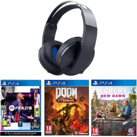 Pack casque audio sans-fil Sony Platinum + Doom Eternal + Far Cry: New Dawn + FIFA 21 sur PS4