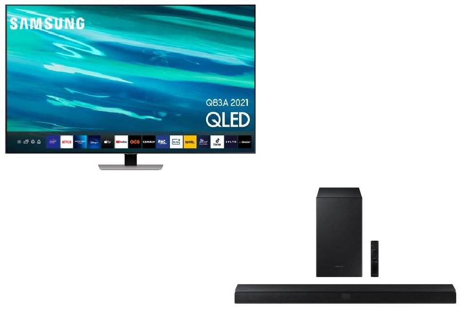 "TV 65"" Samsung QE65Q83A (2021) - 4K, QLED, Quantum HDR, Dalle 100Hz, HDMI 2.1, FreeSync Premium + Barre de son Samsung HW-T550 (200€ ODR)"