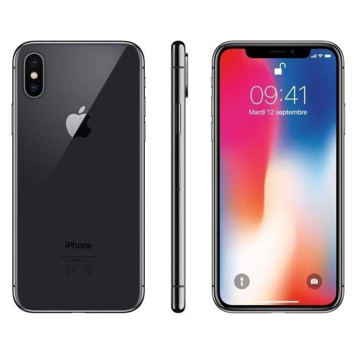 """Smartphone 5.8"""" Apple iPhone X - 64 Go, Gris sidéral (Reconditionné, Excellent état - Vendeur tiers)"""